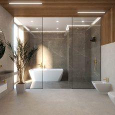 hnedý obklad v sprchovom kúte - Coffee Brown 60x120
