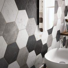 hexagon biely so sivou kresbou