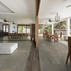 Modern living room and terrace with open wood partition